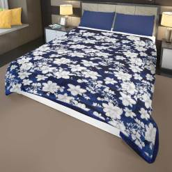 Blue and White Quilt |Double Bed Quilt( Rajai)| Microfiber Filling Heavy Weight |Floral Design|Avioni