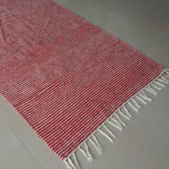 Avioni Luxe Soft Premium Chenille Durries Red Stripes 3x5Feet