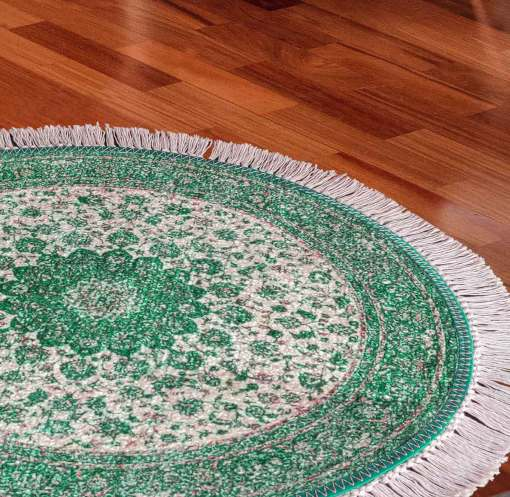 Avioni Persian Carpets For Living Room – Round -Green