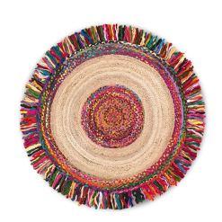 Jute With Chindi Flares Carpets – Braided Area Rugs – Round Rug  Handmade-  Avioni