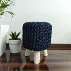 BIGMO Luxury Hand Knotted Boho Look Stool/ Ottoman (3 Legs-Natural Finish)-Navy Blue