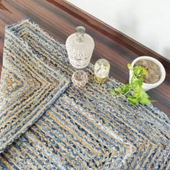 Denim/Jeans With Jute Handmade Braided Rugs| Blue Denim Area Rug|Avioni- Premium Collection