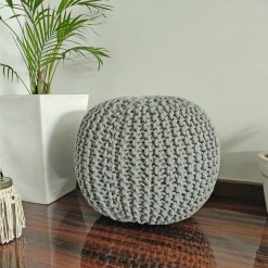 Save 5% on Two BIGMO Luxury Hand Knotted Boho Look Poufs- Steel Gray & Blue – 35x40x40