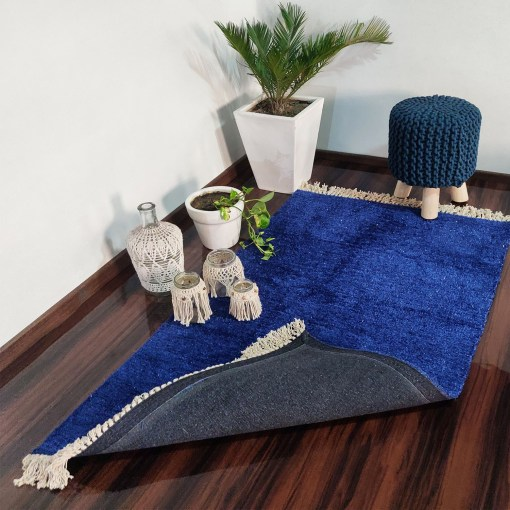 Clearance Sale-Avioni Carpets for Living Room – Neo Modern Collection Blue Solid Carpet/Rug – 90cm x 150cm (~3×5 Feet)