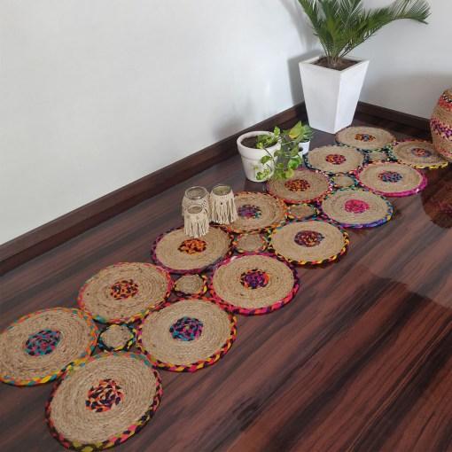 Jute And Chindi Mat – Natural Rugs – Braided Area Rug – – Handmade -(54X 214 cms) 2 feet X 7 feet – Avioni Premium Eco Collection