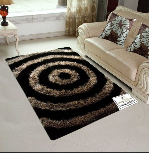 Designer Rugs From Avioni – Shaggy Rug with Beige and Brown Modern Illusion Design  –  Best Seller@ Avioni Factory Price -92×152 cms-3×5 Feet