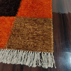 Avioni Carpets for Living Room/Pooja Room – Neo Modern Collection Orange-Coffee Box Carpet/Rug – 90cm x 150cm (~3×5 Feet)