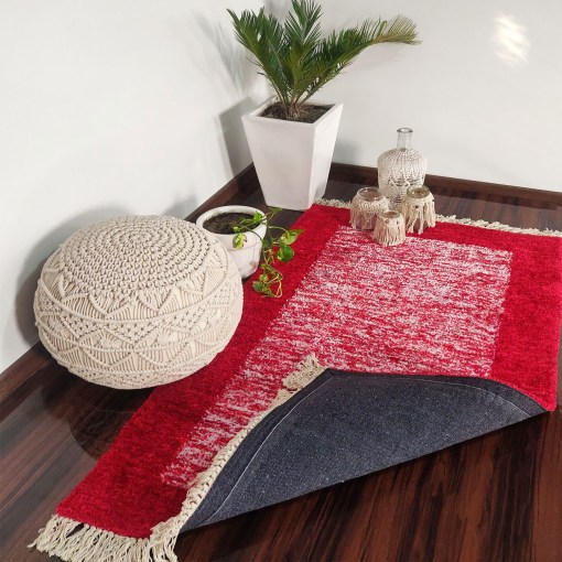Avioni Carpets for Living Room/Pooja Room – Neo Modern Collection Red And White Carpet/Rug – 90cm x 150cm (~3×5 Feet)