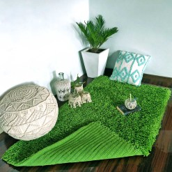 Shaggy Carpet | Washable | Hand Woven Super Luxurious Feel | Export Quality- Green Color