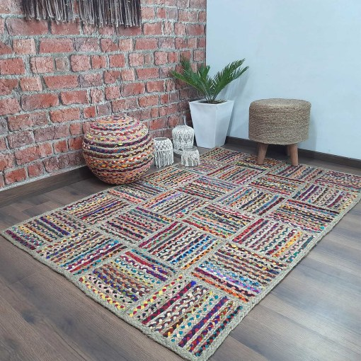 Avioni Home Contemporary Collection ? Eco-friendly Recycled Chindi And Jute & Jute Handmade Braided Area Rug ?Multiple Square Design ? Multiple Sizes