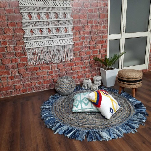 Jute Carpet – Braided Area Rugs – Circular Rug with Contemporary Colored Pattern over Natural Handmade unbleached Centre – 150 cm (~5 Feet) Diameter  –  Avioni
