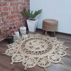 Avioni Home Contemporary Collection- Eco-friendly  Jute Handmade Braided Area Rug -Beautiful Temple Design ? Multiple Sizes