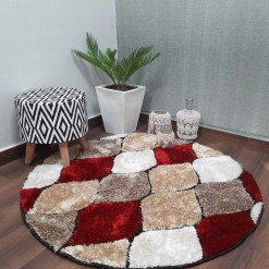 Handloom Soft Shaggy Multicolour Round Carpet (130 Cms) by Avioni