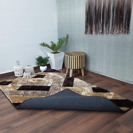 Avioni Shaggy Carpets in Beautiful Coffee Squares Modern Pattern Luxury Look