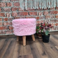 BIGMO Luxury Long Pink Fur Stool/ Ottoman (4 Legs for added stability-Natural Finish )