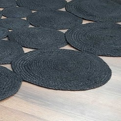 Avioni Home Contemporary Collection -Handmade Dyed Jute In Black Round – Multiple Sizes