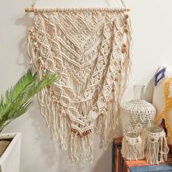 Avioni Hand Knotted Macrame Hanging Rustic hand Woven Heavy Look With Beads  Boho Look – In Giftable Carton/ Best Festival/Wedding Gift-46X88