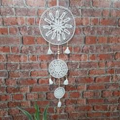 Avioni Home Boho Collection – Crochet Wall Hanging With Beads And Fringes – 120 cms