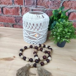 Avioni Home Hand Moulded Glass Jars With Beautifully Crafted Macrame Cover Candle Lantern-8.5 X 12 Inches (22*32 cms)- X Large Size (Copy)