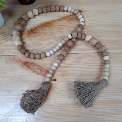 Avioni Home- Hand Made Garland With Wooden Beads With Jute Fringes -44 Inches (112 cms)