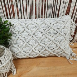 Bohemian Style Hand Knotted Macrame Cushion 100% Bleached Cotton With Filler-  12X20 Inch (30×50 cms)