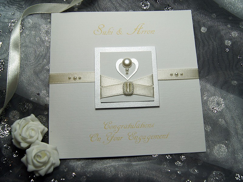Pearl Handmade Engagement Card