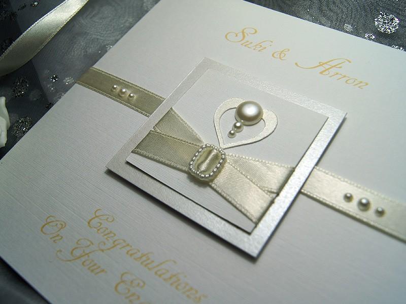 Pearl Handmade Engagement Card