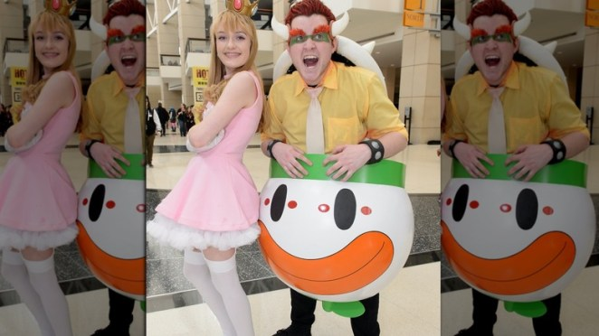 Princess Peach and Bowser casual cosplay