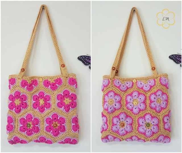 Reversible Crochet African Flower Bag