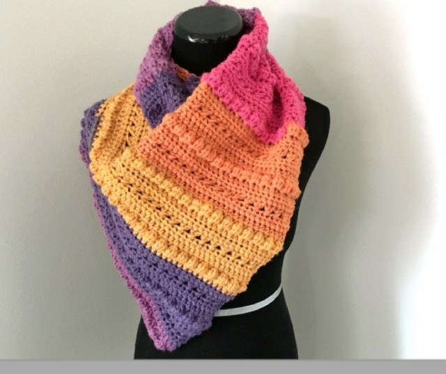 colourful crochet scarf