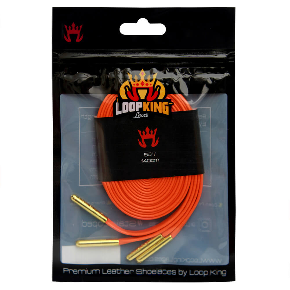 Orange Leather Shoelaces Packaging