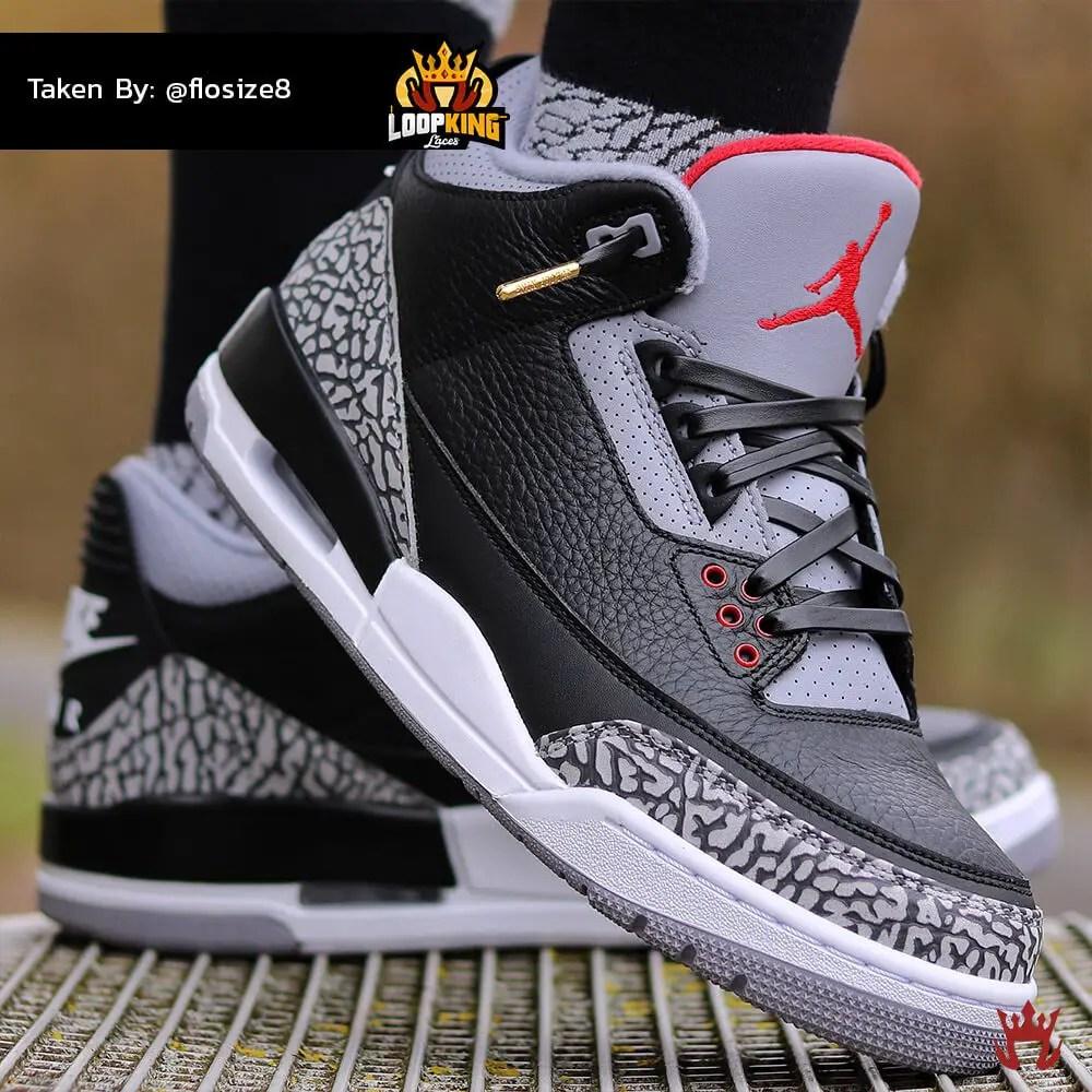 black leather shoelaces on jordan cements 1