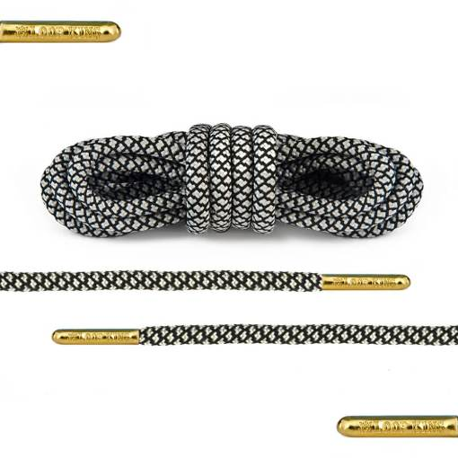 black white rope round shoelaces