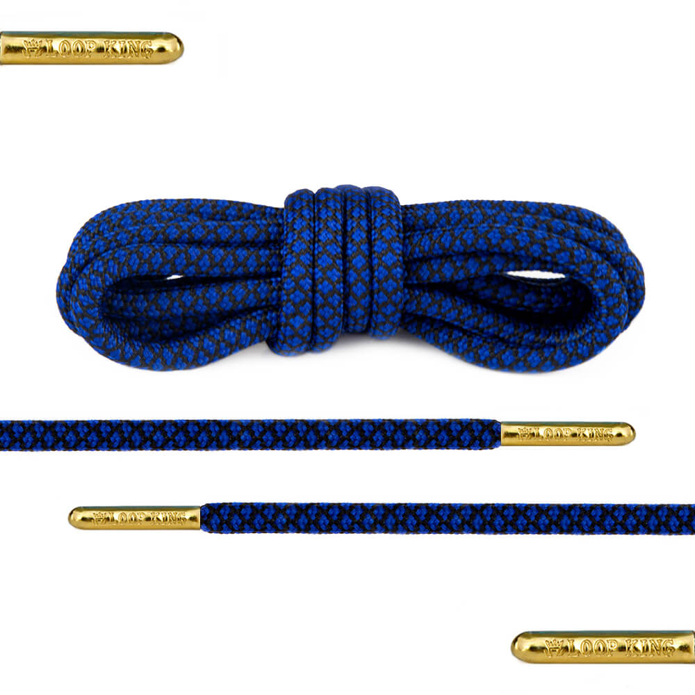 blue black rope round shoelaces
