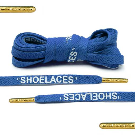 blue off-white shoelaces gold tips