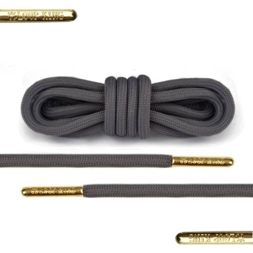 dark grey rope shoelace with gold tips