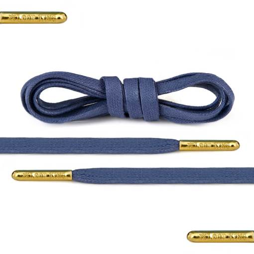 flat waxed blue shoe laces