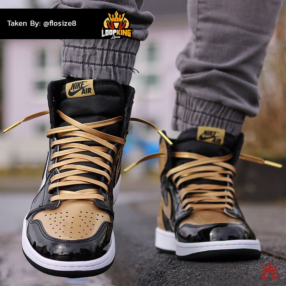 Loop King Laces Gold Leather Shoelaces on Gold Toe Jordans