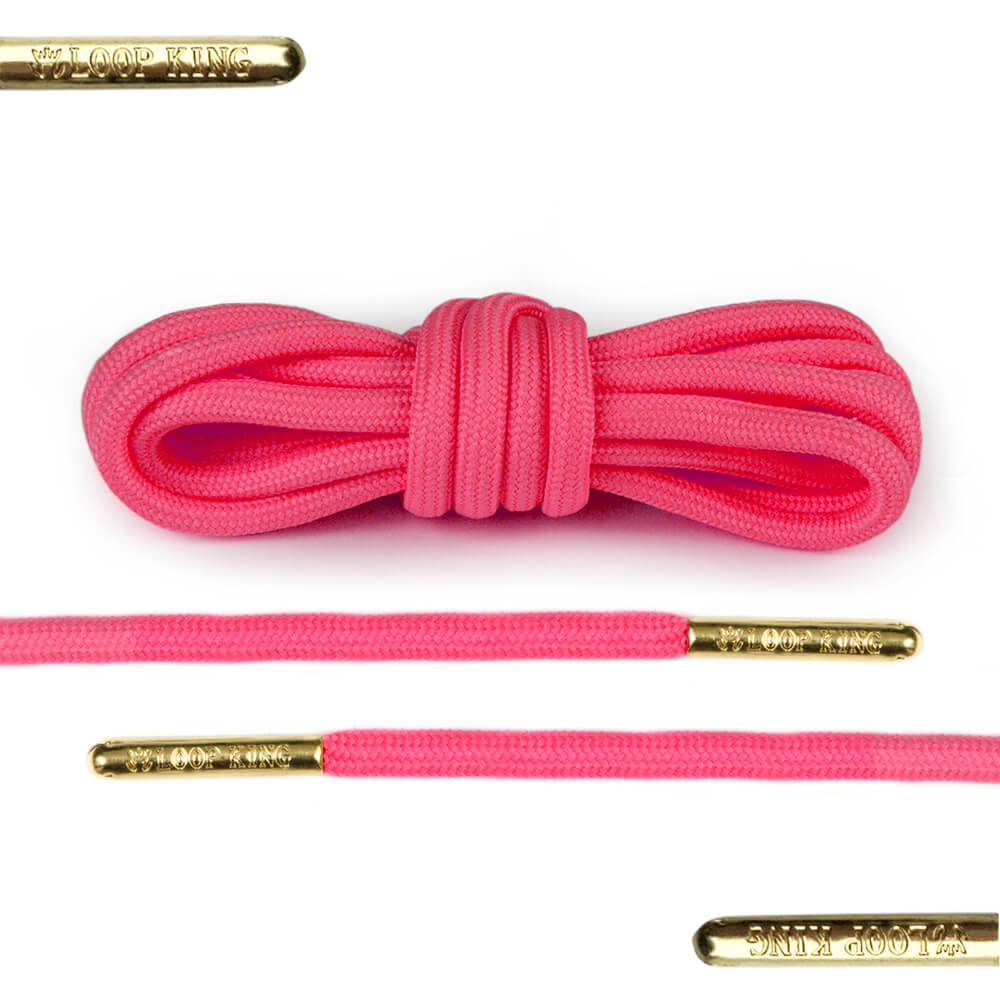 pink rope shoelaces with gold tips