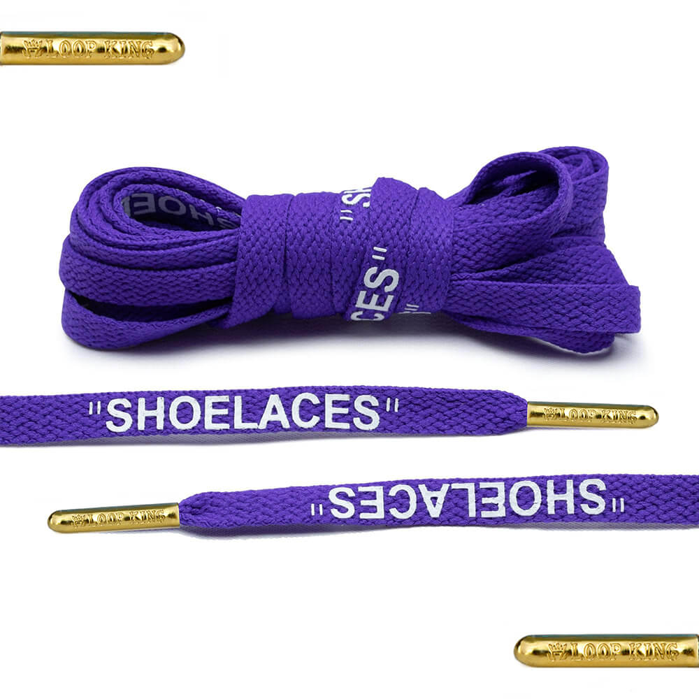 purple off-white shoelaces gold tips