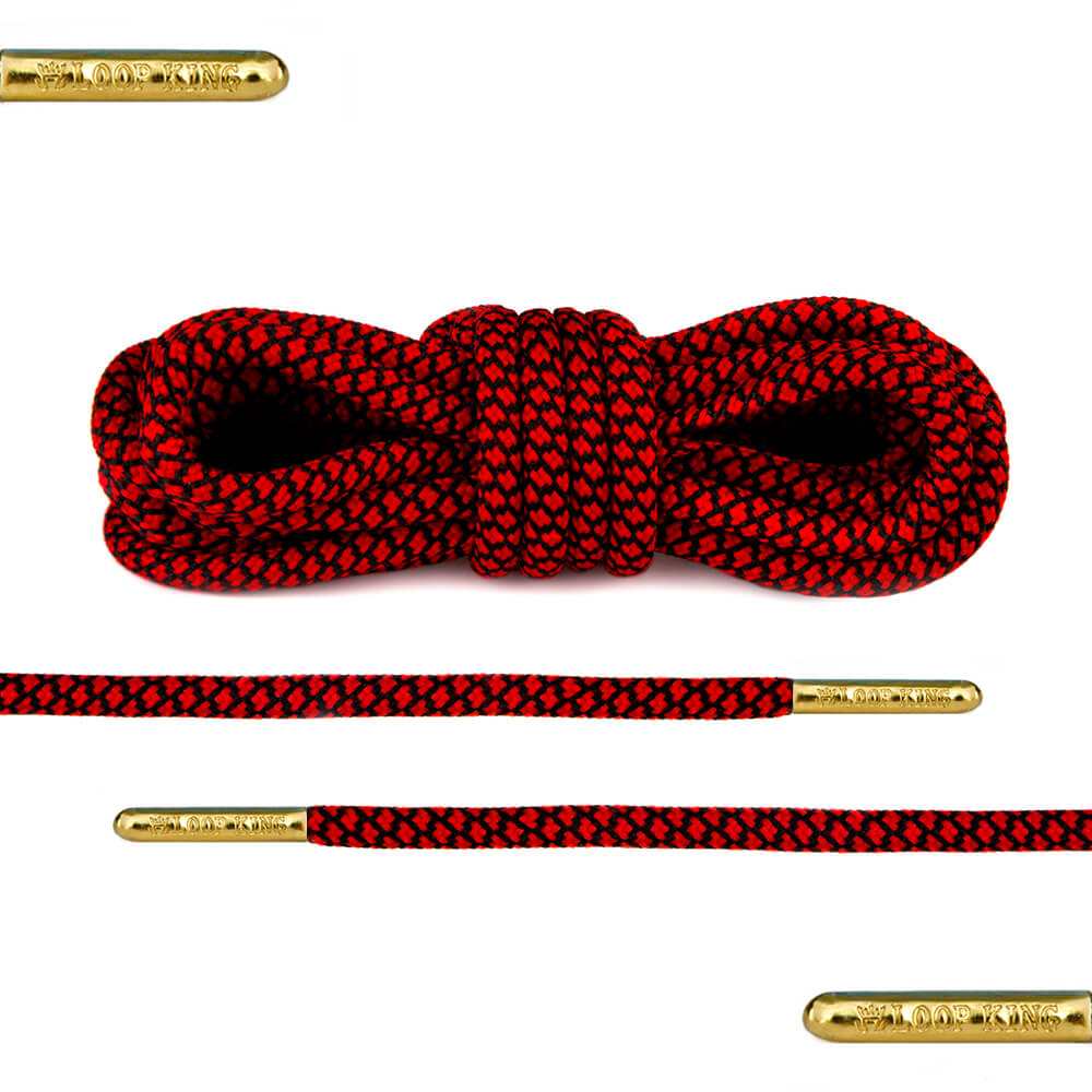 red black rope round shoelaces