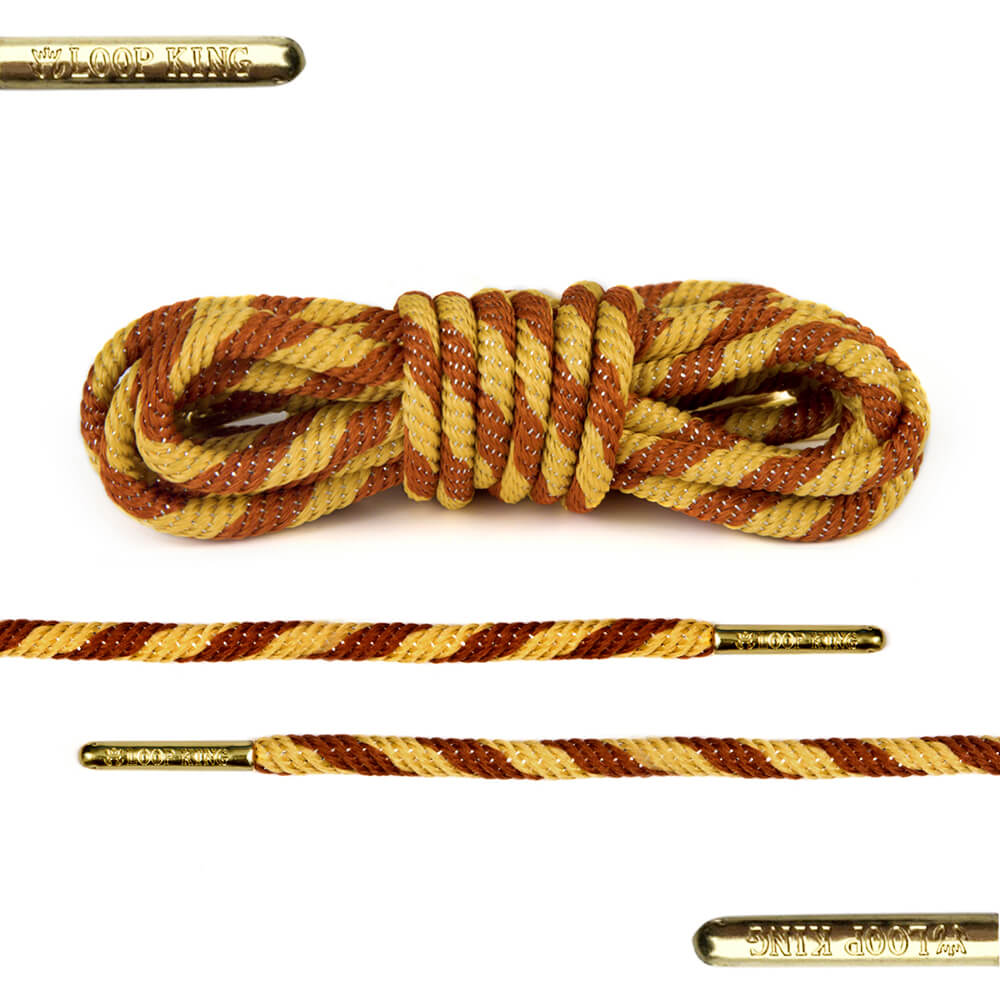 rope yellow brown shoe laces with gold tips
