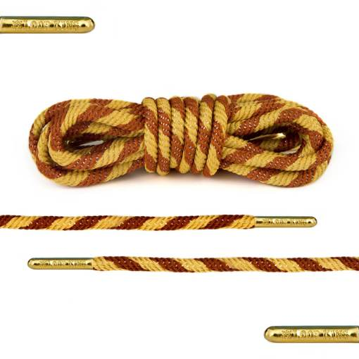 yellow brown rope round shoelaces