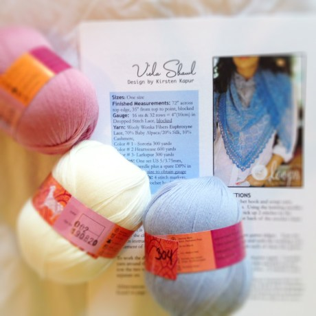 Viola Shawl & Jade Sapphire Lacey Lamb in colours 211, 002 and 304