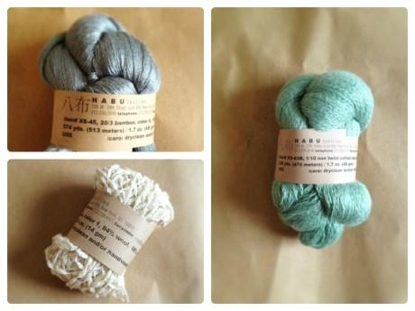 Clockwise from top left: Habu Bamboo Lace colour 6, Habu Non Twist Cotton Boucle colour 14, Habu Lily Boucle colour 1