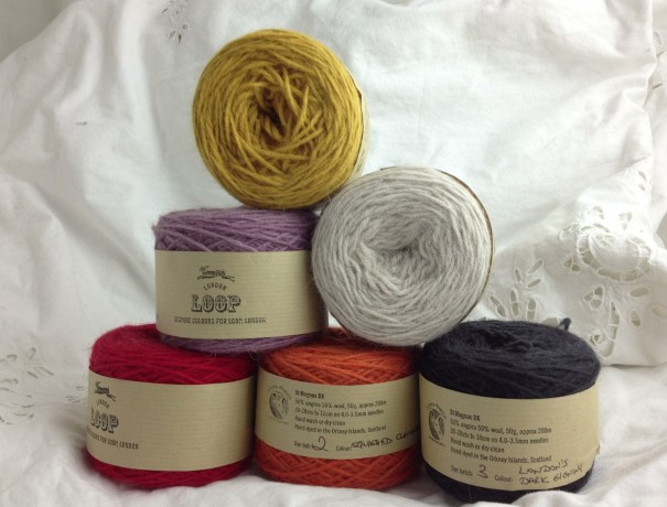 Custom Colours for Loop! CW from Top - Magical Goose, Ghost, London's Dark Evening, Squashed Clementine, Prince Suitcase, Plum Stain