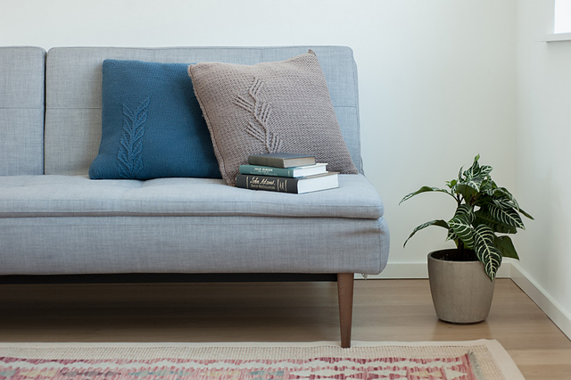 Liden and Alder pillows from Home by Pam Allen, Photo courtesy of Quince & Co. Loop, London. www.loopknitlounge.com