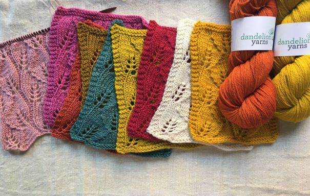 Dandelion Yarns Wandering Leaves stitch for Cowl at Loop