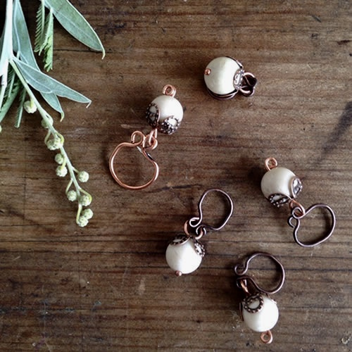 Copper Berry handmade stitch markers at Loop London