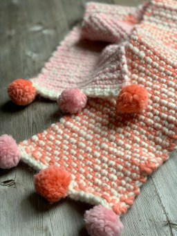 Two colour moss stitch scarf at Loop London